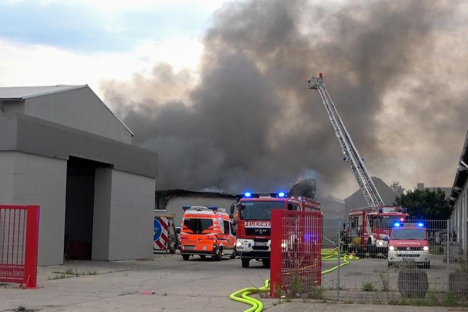 Durch den Brand in der Halle bildete sich starker Rauch.