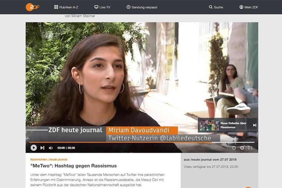 """Im """"Heute Journal"""" schilderte Miriam Davoudvandi ihre Erfahrungen."""