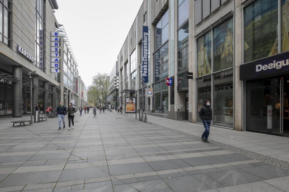 So leer war die Prager Straße noch vor wenigen Wochen.