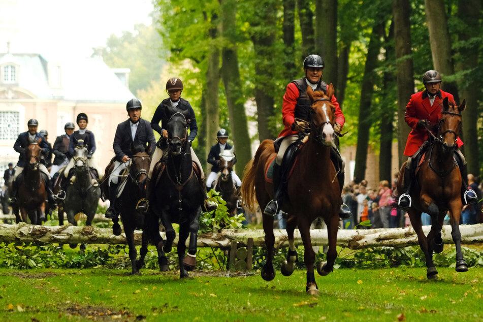 Reiter folgen am Schloss Clemenswerth der Cappenberger Hundemeute.