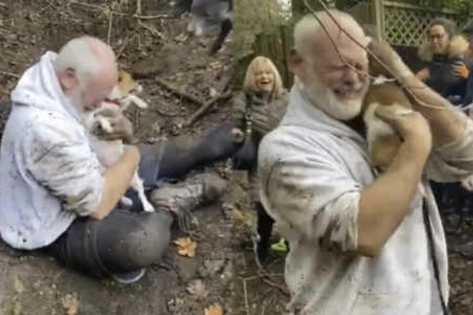 Tränen der Freude: Alan Whitton hat seinen Hund nach 50 Stunden endlich wieder in seinen Armen.