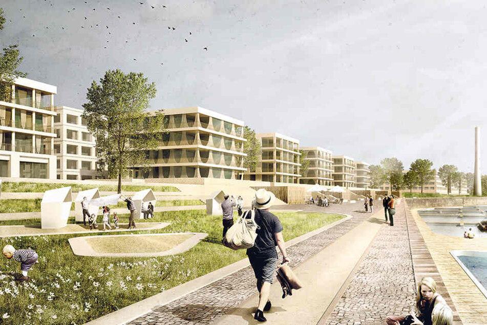 So sieht der neue Entwurf für die USD-Hafencity in der Leipziger Vorstadt  aus.