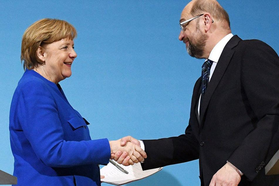 Angela Merkel und Martin Schulz nach den Sondierungsgesprächen.