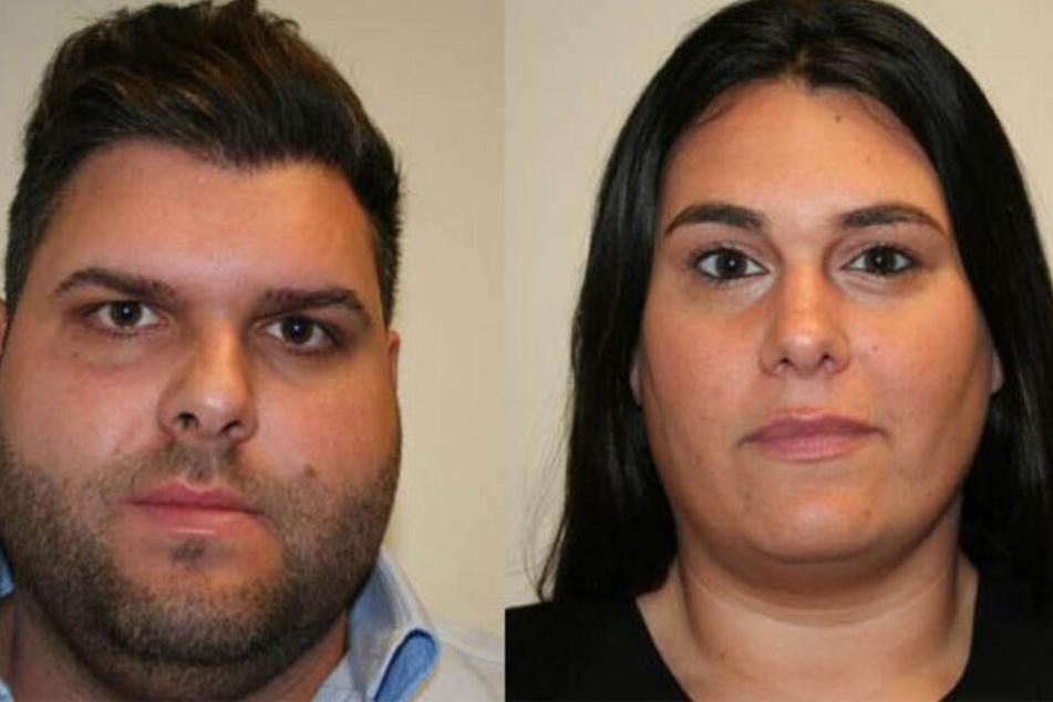 Ellie K. (29) und seine Ehefrau Jessica K. (30) auf Polizeifotos.