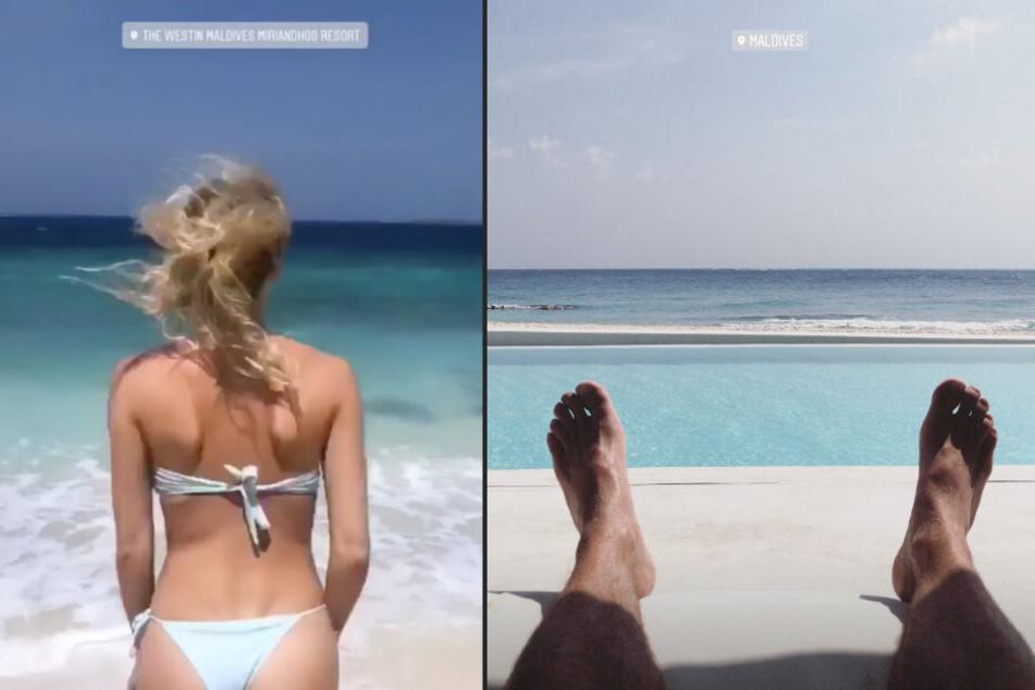 Lena Gercke und Dustin Schöne veröffentlichten in ihren Instagram-Storys zur gleichen Zeit Bilder, die auf den Malediven gemacht wurden. (Bildmontage)