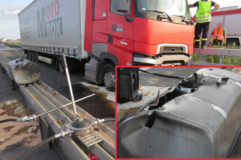 Lkw-Tank abgerissen: Große Menge Diesel ausgelaufen!