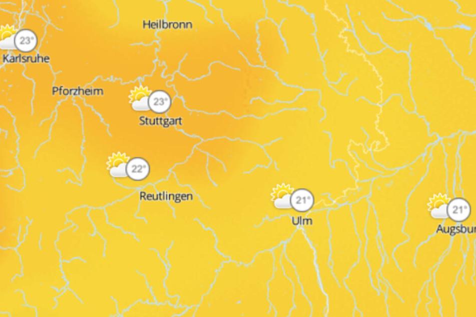 Am Donnerstag bewegen sich die Temperaturen im Südwesten im Durchschnitt um 22 Grad, es wird Regen erwartet.