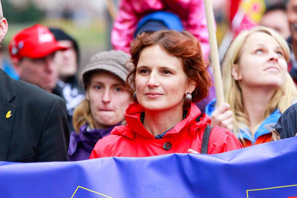 Katja Kipping (Die Linke) war am Samstag in Leipzig auf der Anti-TTIP-Demo.
