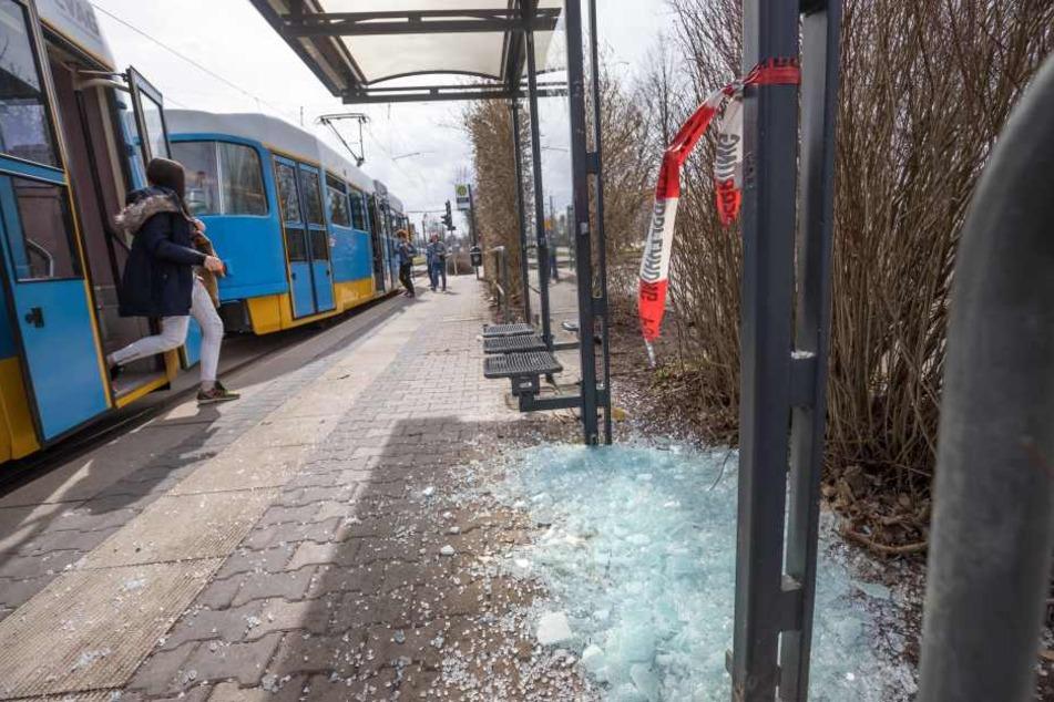 In der Dr.-Salvador-Allende-Straße wurde eine Haltestellen-Scheibe mit einem Stein eingeschlagen.