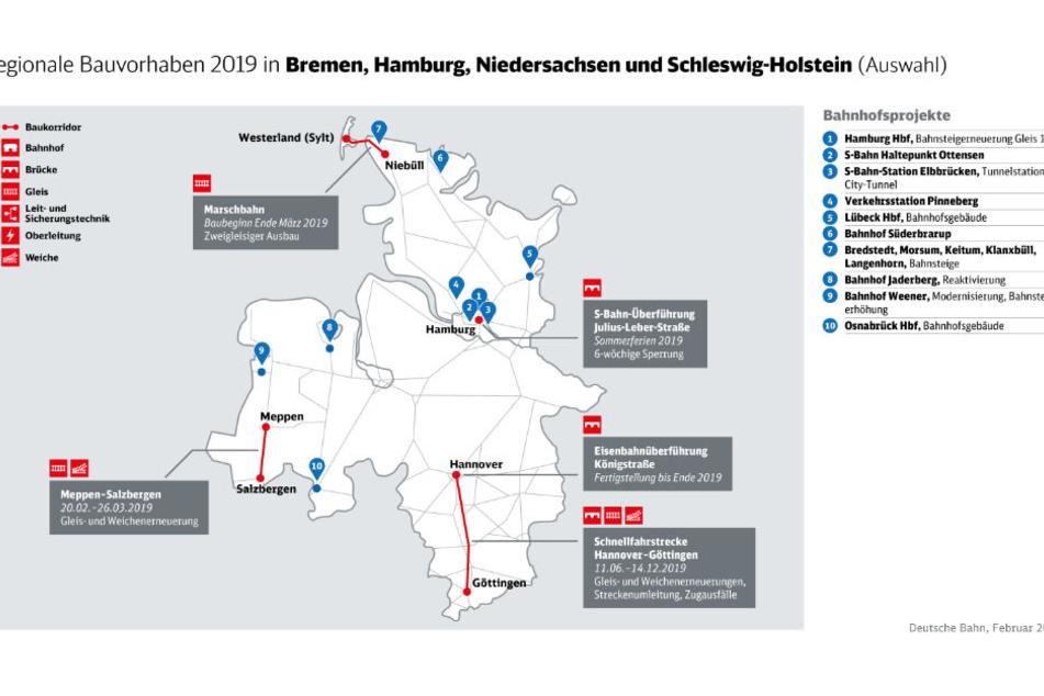 Die Bahn plant mehrere Baustellen in diesem Jahr in Norddeutschland.