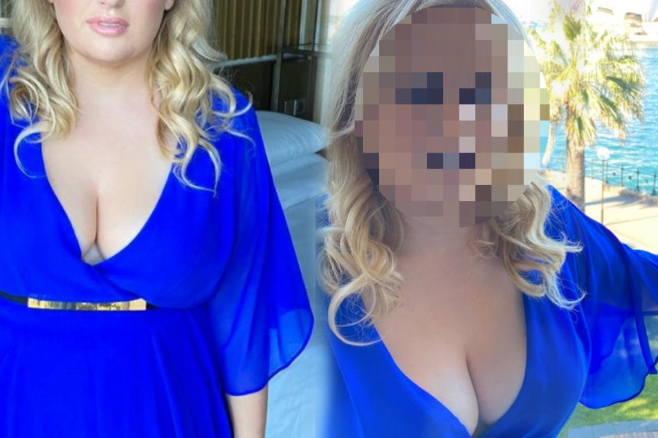 Mit 40 Jahren: Wer zeigt sein XXL-Dekolleté im blauen Kleid?