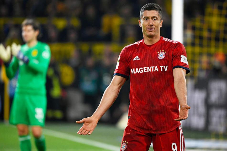 Versteht die Welt nicht mehr: Robert Lewandowski traf für die Bayern gegen seinen Ex-Verein Borussia Dortmund doppelt und ging trotzdem als Verlierer vom Platz.