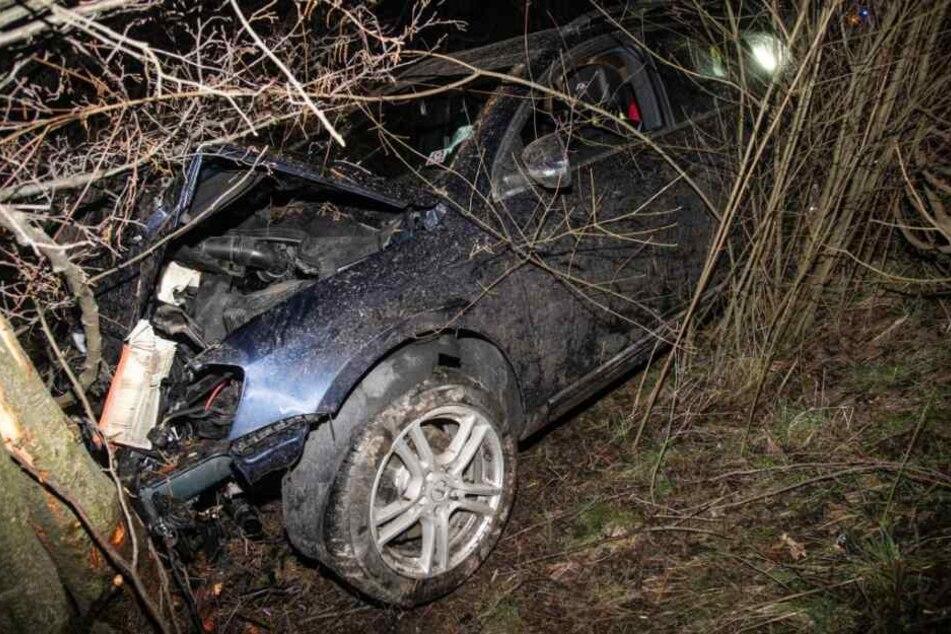 Der VW-Fahrer kam von der Fahrbahn ab und krachte gegen einen Baum.