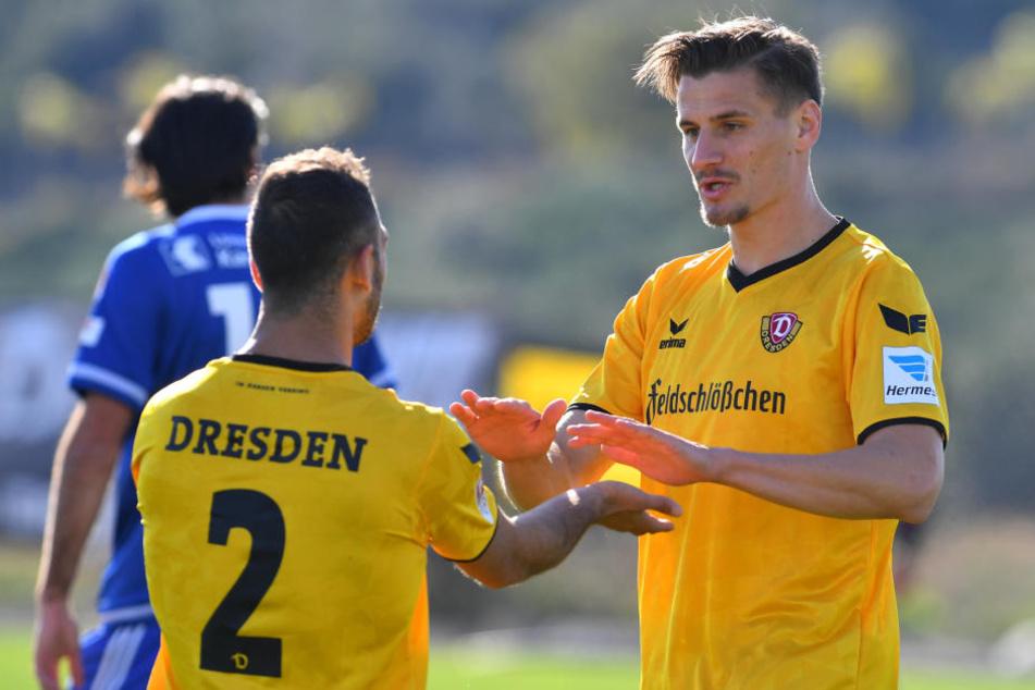 Gogia (li.) und Stefan Kutschke sind zwei, die Dynamo unbedingt behalten will.