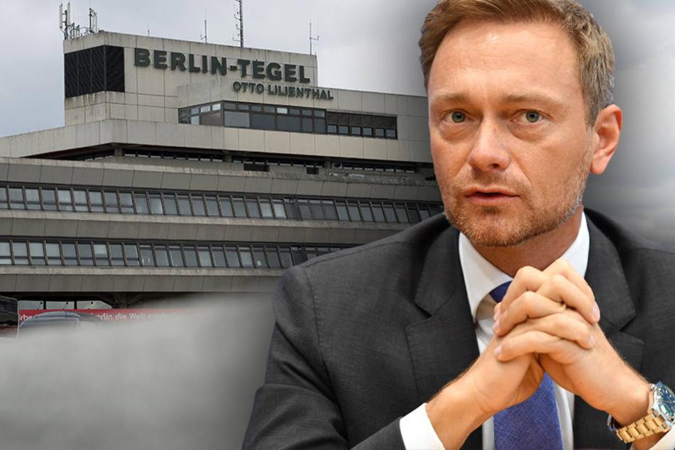 Christian Lindner setzt sich für den Erhalt des Flughafen Tegels ein. (Bildmontage)