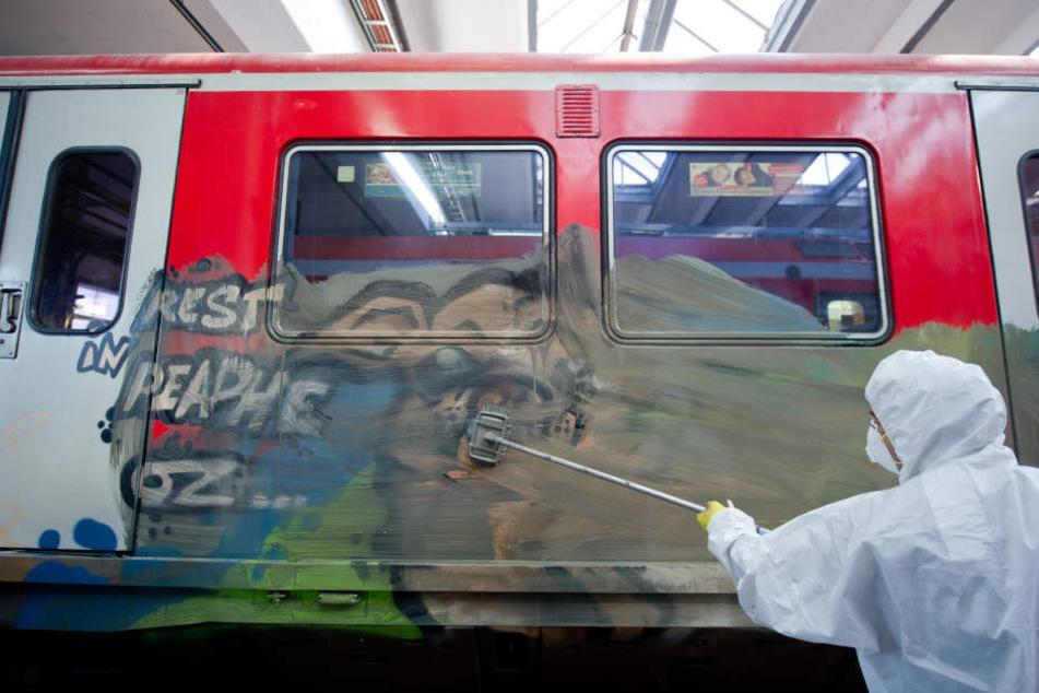 Die komplette Seitenfläche des Zuges wurde verschmutzt. (Symbolbild)