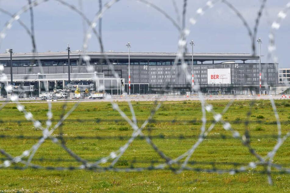 """Stacheldrahtzaun sichert das Gelände am Flughafen Berlin Brandenburg Airport """"Willy Brandt"""" (BER) nahe Schönefeld (Brandenburg)."""