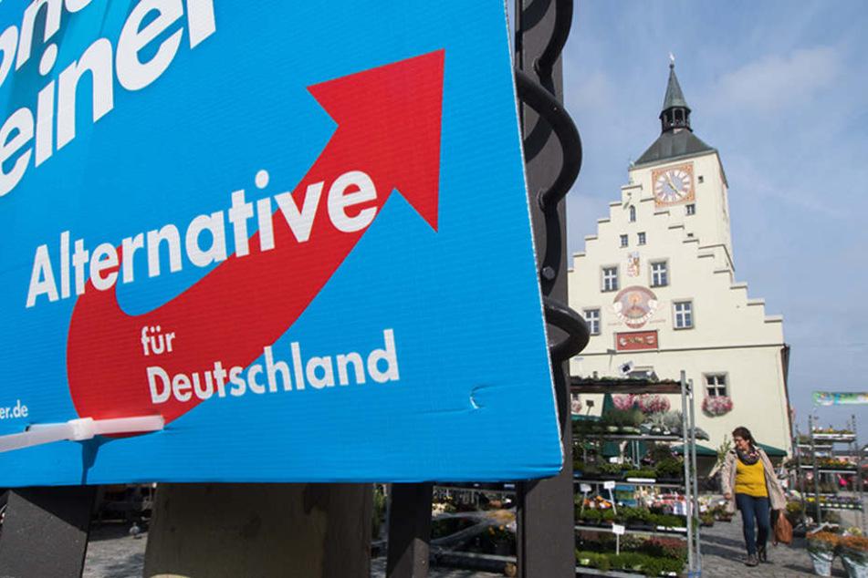 Ein Wahlplakat der AfD hängt am Stadtplatz von Deggendorf (Bayern).