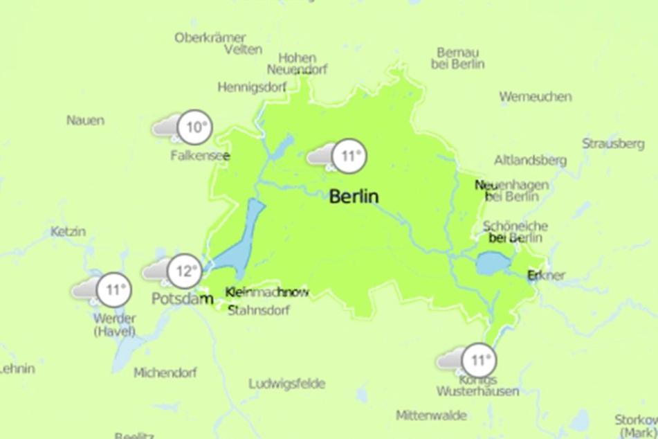 Die Karte von Wetter.de für den kommenden Mittwoch. Doch auch an den übrigen Wochentagen wird sich das Bild nicht ändern.