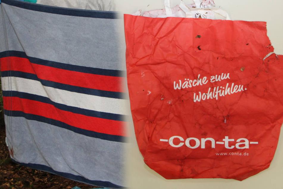 In diesem Handtuch und in dieser Plastiktüte wurde Joris Anfang September gefunden.