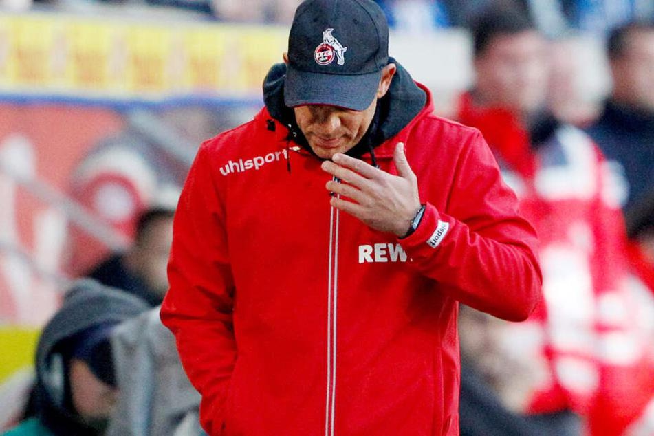 Kölns Trainer Markus Anfang (44) hatte nach Schlusspfiff von dem Notfall erfahren.