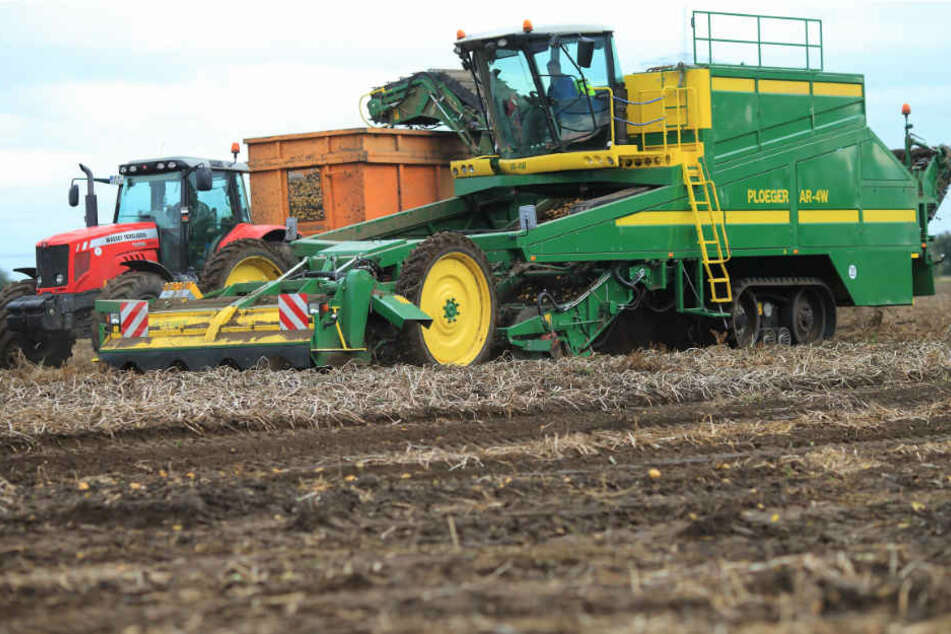 Das Erntegerät löste sich plötzlich von dem Traktor. (Symbolbild)