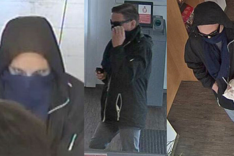 Die Bildmontage zeigt drei Fotos des Gesuchten bei seinem Überfall auf eine Sparkasse.