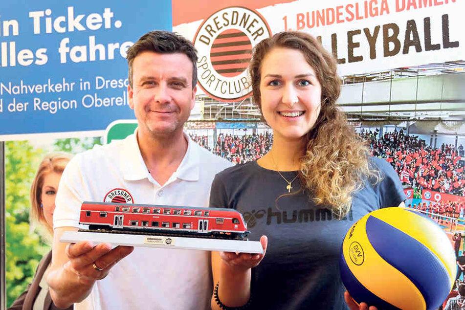 DSC-Chefcoach Alex Waibl und Mittelblockerin Barbara Wezorke freuen sich schon auf das Pokalfinale in Mannheim und bauen dort auf die Unterstützung ihrer Fans. Im Sonderzug sind noch Plätze frei.