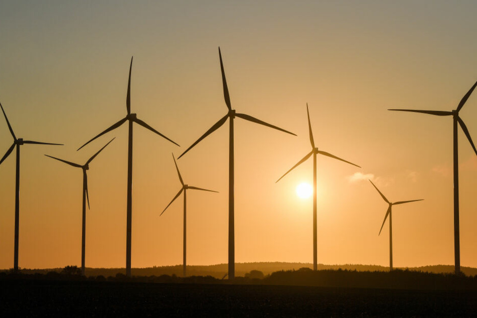 Ein Windenergiepark im Sonnenaufgang.