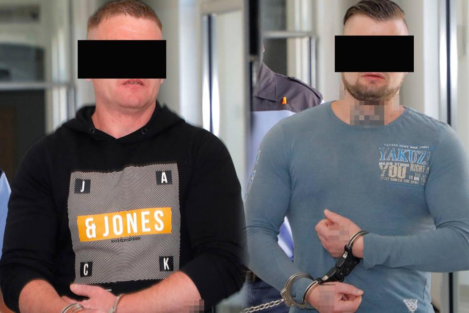 Sven H. (39, l.) und Andreas G. (33, r.) sind als Räuber angeklagt. Ein Urteil wird frühestens Mitte August erwartet.