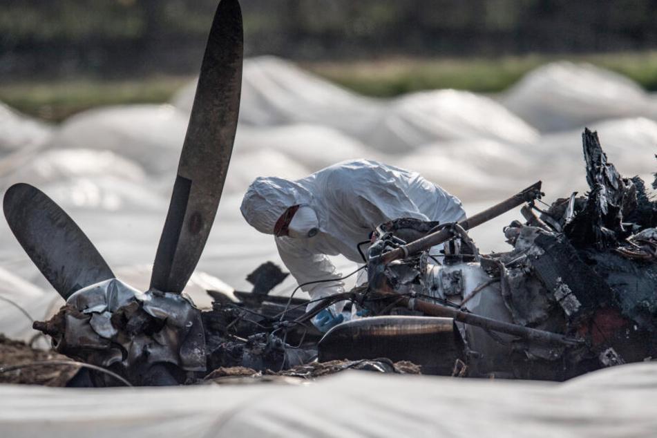 Die Maschine ging nach dem Absturz sofort in Flammen auf.