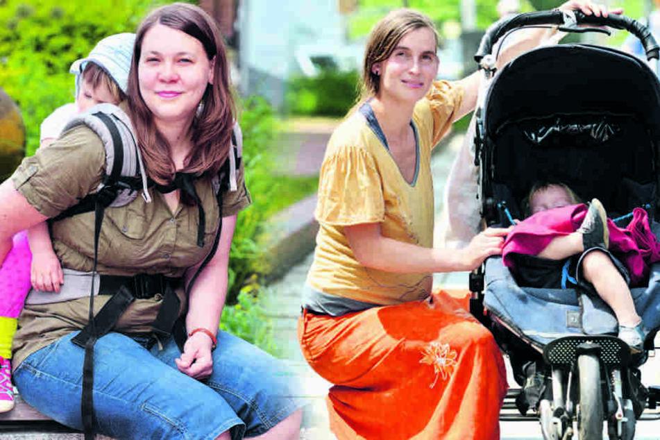 Lydia Lehmann-Eschenkorn (27, l.) mit Paula (3) und Catrin Delor (31) mit Alexej (1).