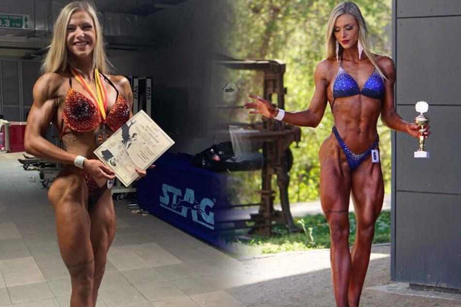 Die Fotomontage zeigt Larissa in Topform bei einem Bodybuilding-Wettkampf.