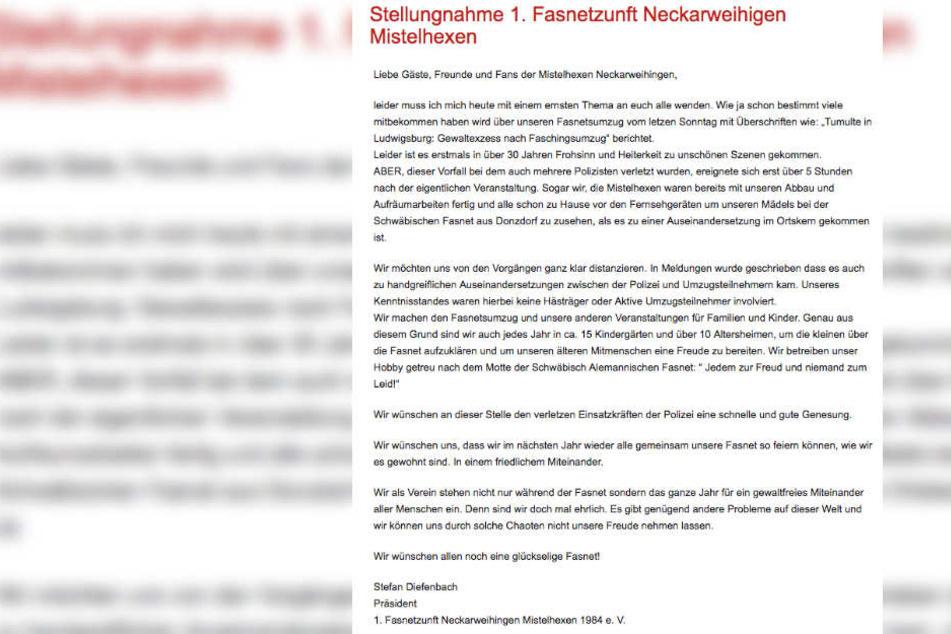 In einer Stellungnahme distanzierte sich die Fastnet-Zunft Mistelhexen von dem Vorfall am Sonntagabend.