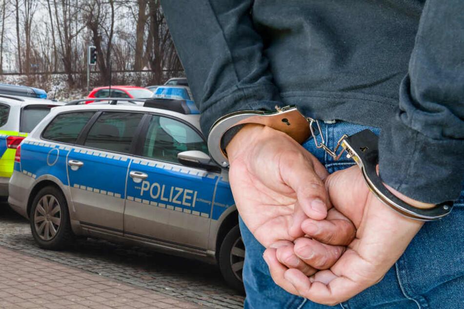 Der Mann wurde festgenommen, die Polizisten blieben unverletzt. (Bildmontage)
