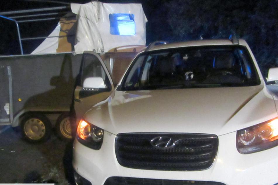 Das Auto blieb am Straßenrand stehen. Das Pferd wurde aus dem Anhänger geschleudert.