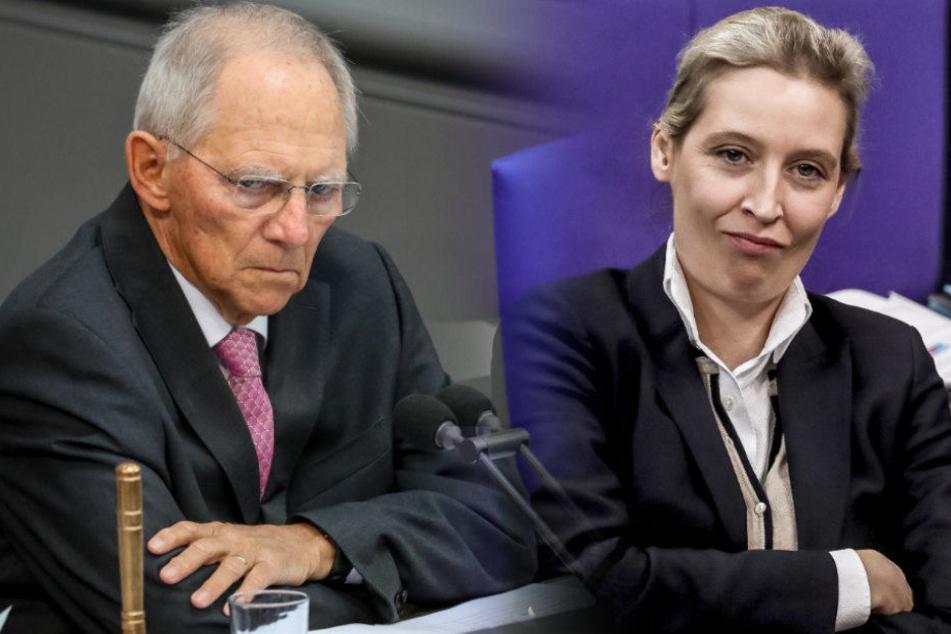 Wolfgang Schäuble und die AfD-Spitzenpolitikerin Alice Weidel lauschen der Debatte im Bundestag. (Bildmontage)