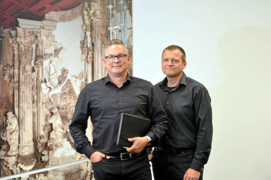 """Wollen beim Wiederaufbau helfen: """"IPROconsult""""-Geschäftsführer Lutz Junge (56, l.) und Bauingenieur Jens-Christian Giese (51)."""