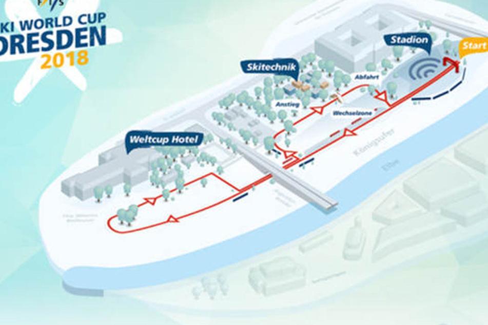 Der Start der Sprint-Strecke liegt am Filmnächte-Areal. Der etwa 800 Meter  lange Kurs führt entlang des Elberadweges. Das Westin Bellevue würde zum  Athleten-Hotel.