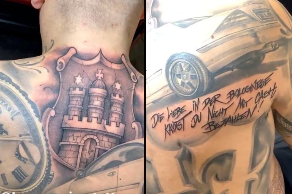 Seine neuen Tattoos zeigt Gzuz auf Instagram.