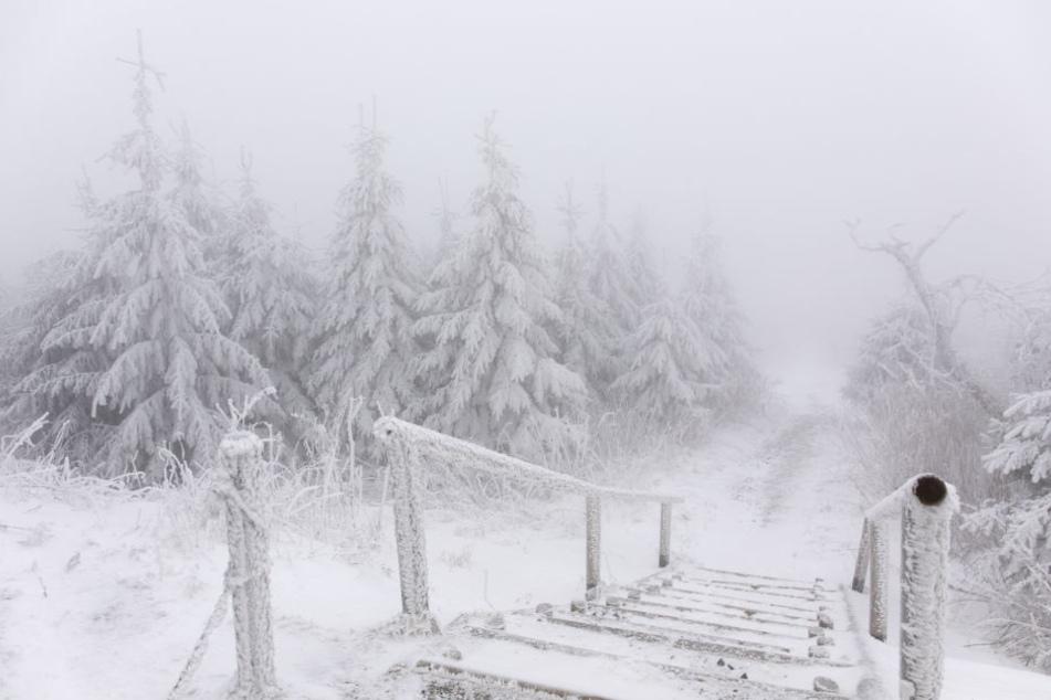 Der Fichtelberg hat sich bereits in eine Winterlandschaft verwandelt.