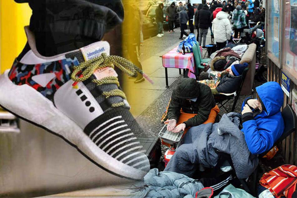 Wahnsinn! Warum campen hunderte Menschen hier vor einem Schuhgeschäft?