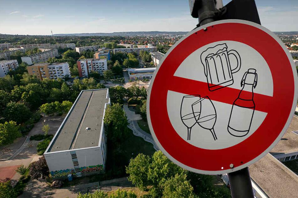 """Der Amalie-Dietrich-Platz ist ein Kriminalitäts-Schwerpunkt. Im Juni wurde er """"trockengelegt"""". Das Verhängen eines Alkoholverbots ist eine Möglichkeit, die Kriminalität an einem Platz zu verringern. (Fotomontage)"""