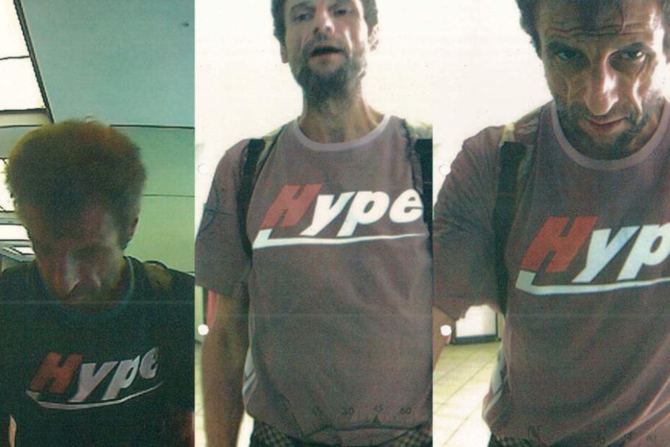 Mit Fotos aus Überwachungskameras fahndet die Polizei nach einem Betrüger mit auffälligem T-Shirt.