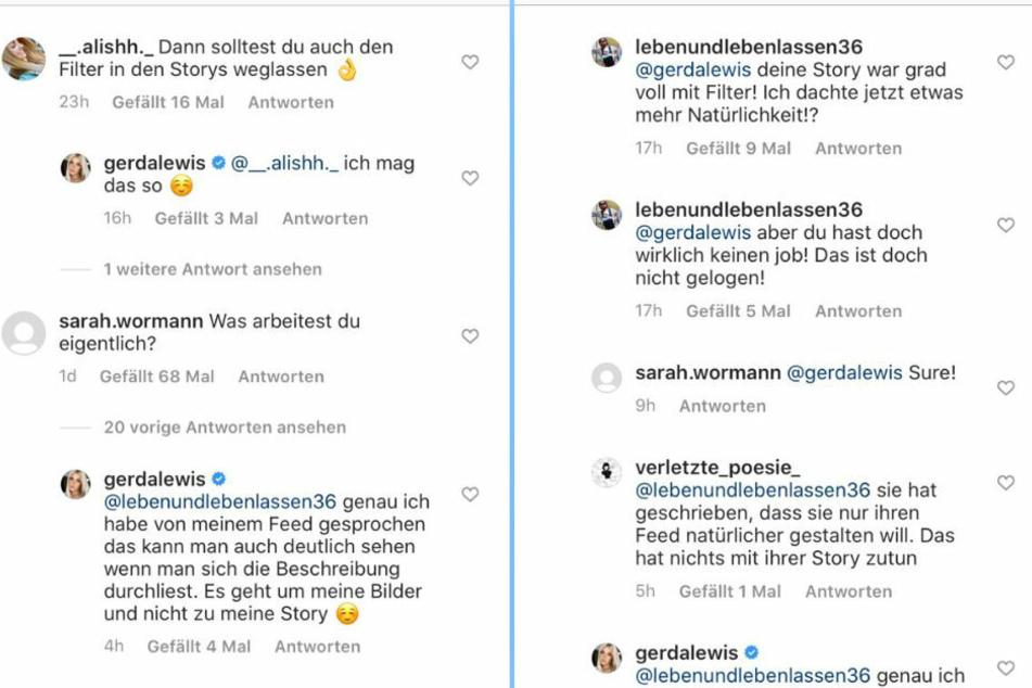 Ihre Follower sind von Gerda Lewis (27) Plänen, auf mehr Natürlichkeit bei Instagram zu setzen, noch nicht ganz überzeugt.