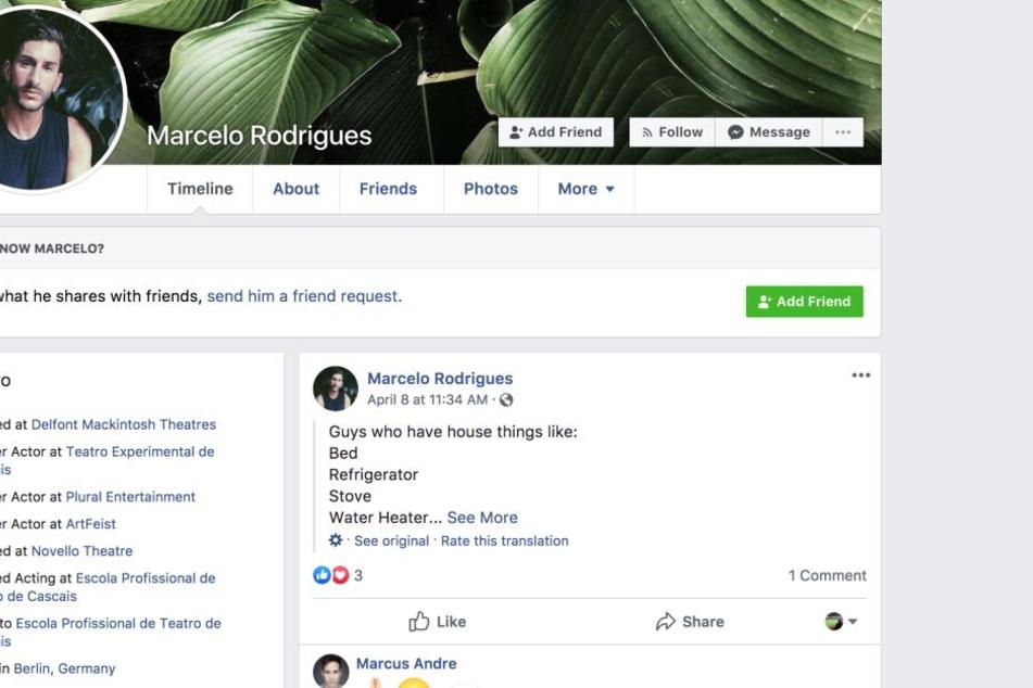 Der Screenshot zeigt die Facebook-Seite des Schauspielers.