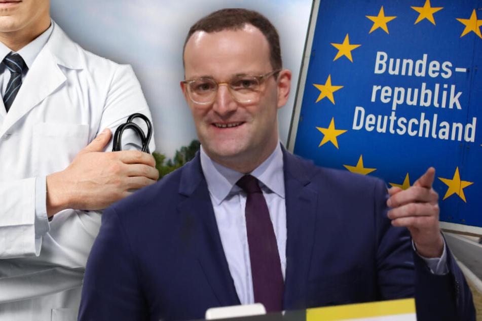 Spahn will deutsche Ärzte in Deutschland halten und abgewanderte gerne wieder zurücklotsen. (Bildmontage)