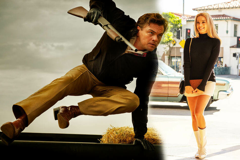 Rick Dalton (l., Leonardo DiCaprio) schlägt sich als Schauspieler so durch, während der Stern von Sharon Tate (Margot Robbie) erstrahlt. (Bildmontage)