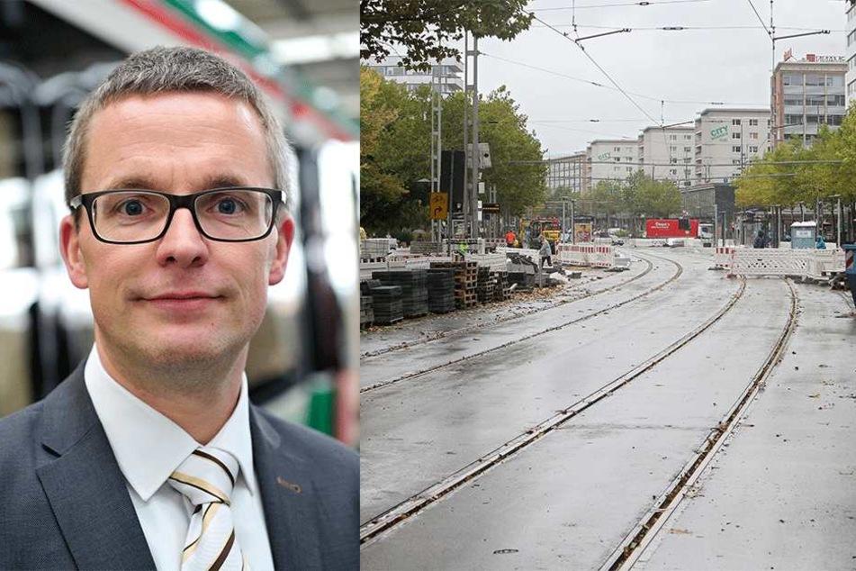 Links: Mathias Korda (39) vom VMS ist einer der Chefs des Zenti-Umbaus. Rechts: Blick in die Straße der Nationen: Hier soll ab dem 23. Oktober alles frei  sein.
