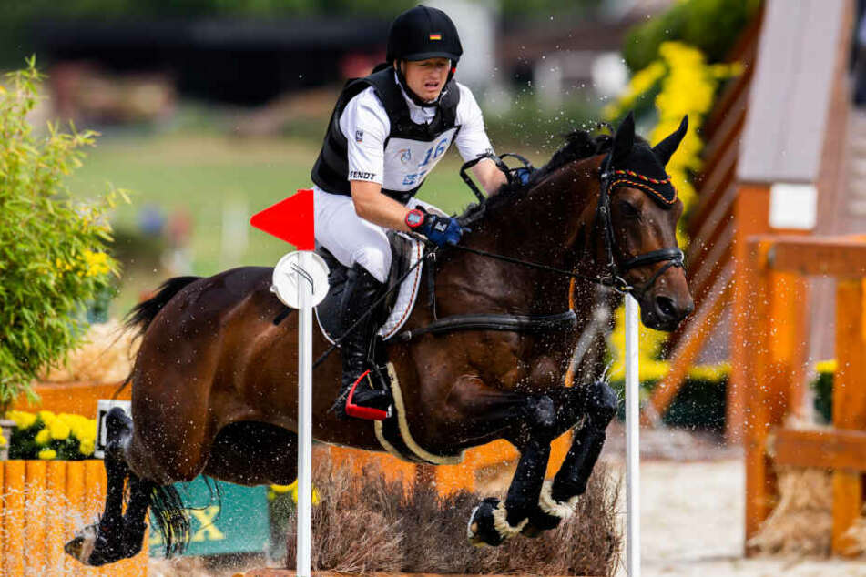 Der Reiter Michael Jung aus Deutschland auf dem Pferd Star Connection überspringt ein Hindernis.